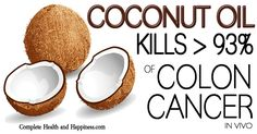 In this newly published lab study, lauric acid (coconut oil is about 50% lauric acid) killed over 93% of human colon cancer cells (Caco-2) after 48 hours of treatment.