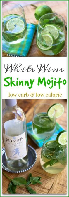 #ad Cool down a hot afternoon with this easy, refreshing #WhiteWine #SkinnyMojito Recipe. It is low on carbs, and sugar, but big on taste. If you are watching your waistline, then this is the perfect #lowcalorie wine drink.