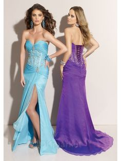 """Category: """"Apparel & Accessories > Clothing >Dresses > Formal Dresses""""    Description:Beautiful gown with a sweetheart, strapless neckline and bustier bodice. Ruched bust and beaded midriff, low waistline and lace-up back. Slim, a-line skirt with a front slit and train. Shown in Frost and Purple.    Gender: Female    Age Group: Adult    Silhouette: A-Line Gown    Neckline: Strapless Sweetheart Neckline    Waist: Empire Waist    Hemline:… $219.00"""