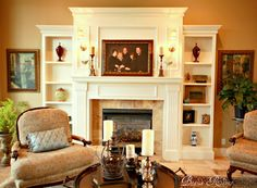 I like the bookshelves on either side of the fireplace