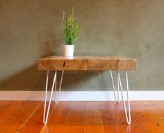 Second bedroom...  Modern side table - Eco Locally salvaged wood with Elm slab and Hairpin legs