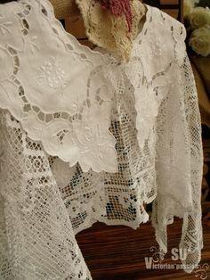 Recycled Capelet Shawl Bridal Shrug Scarf Cape vtg antique Lace Edwardian Shawl