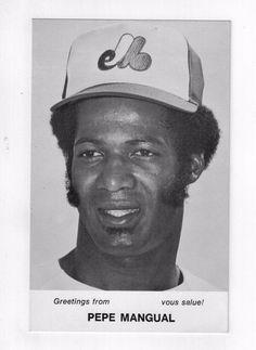Pepe Mangual 1970s Montreal Expos Team Issue Photo Card 3.5 x 5.5 Vtg Baseball