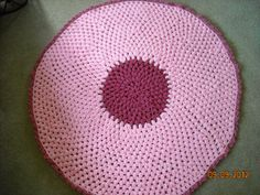 Modern Rose is An Original Design House Rug made with two strands of light pink and two shades of rose acrylic yarn. The variation of the pop