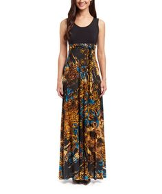 Another great find on #zulily! Black & Gold Floral Maxi Dress #zulilyfinds