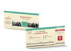 Hochzeitskarte als Boarding Pass – Wedding Express – mit Perforation zum Abtrennen des rechten Ticketteils