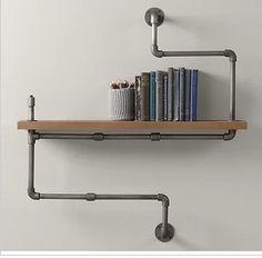 French word retro wood clapboard shelf bookcase shelf , wrought iron wall pipe wall shelving ideas US $458.00