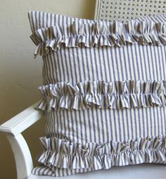 Ruffled blue ticking stripe pillow cover by agoodhome on Etsy, $40.00