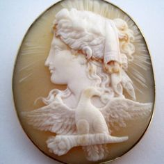 SUPERB-QUALITY-VICTORIAN-9ct-GOLD-CAMEO-HEBE-amp-THE-EAGLE