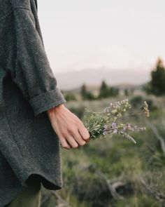collecting wild flowers