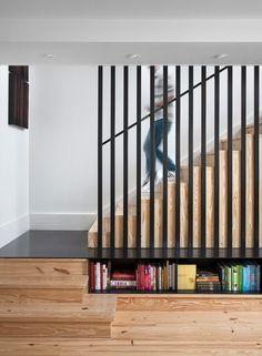 escalier quart tournant avec marches en bois sans nez