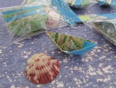 paper boat origami 36 boats with sea shell decoration by shredlock