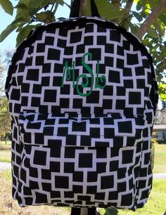 Monogrammed Black and White Connecting Squares Backpack | The Old Bag's Bags