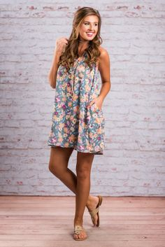 """""""Floral Fields Dress, Slate Blue""""Spring and summer call for all your best floral printed tops, dresses and anything else you can get your hands on! Which is why you need this fabulous dress!  #newarrivals #shopthemint"""