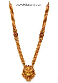22K Gold 'Lakshmi' Long Necklace (Temple Jewellery)
