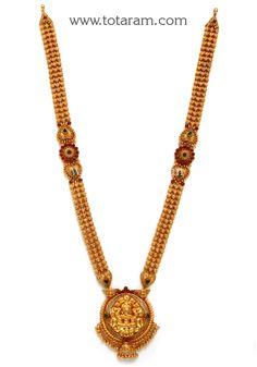 22K Gold 'Lakshmi' Long Necklace (Temple Jewellery)