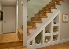Under Stair Storage Design Ideas, Pictures, Remodel and Decor Staircase Shelves, Basement Staircase, Staircase Design, Staircase Ideas, Wall Shelves, Open Staircase, Stair Design, Staircase Remodel, Banister Ideas
