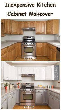 Awesome DIY Kitchen Makeover Ideas - For Creative Juice - Inexpensive Kitchen Cabinet Makeover. Informations About Awesome DIY Kitchen Makeover Ideas – - Cheap Kitchen Makeover, Kitchen Redo, New Kitchen, Awesome Kitchen, Kitchen Counters, Kitchen Cabinetry, 10x10 Kitchen, Soapstone Kitchen, Kitchen Makeovers