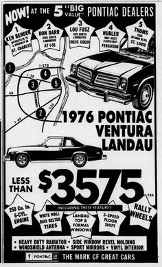 Used Car Lots, Used Cars, Pontiac Ventura, Mirror Vinyl, Missouri, November, Ads, November Born