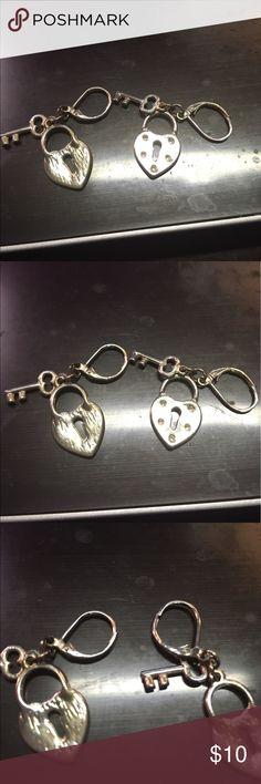 Earrings Lock and Key Sterling Silver Earrings Jewelry Earrings
