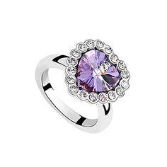 (1 Pc) Unusual Ocean Heart Women's Purple Crystal Rings  – AUD $ 9.88