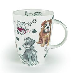 "Fun-loving dog illustrations are captured on this mug - perfect for any pet lover! Bone China Mug is made in the UK. Dishwasher safe. 4-1/2""H x 3-1/2""Diam. Matching tray also available. 13-1/2""L x 9""W  19.98"