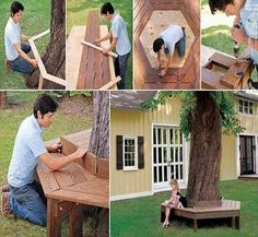 20 Easy and Cheap DIY Ways to Enhance The Curb Appeal- build a tree bench. Great for my tulip poplar in the backyard! Bench Around Trees, Tree Bench, Tree Seat, Tree Chair, Diy Garden, Home And Garden, Outdoor Projects, Diy Projects, Garden Projects