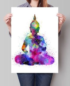 Buddha Wall Art Buddha Painting Yoga Print Watercolor
