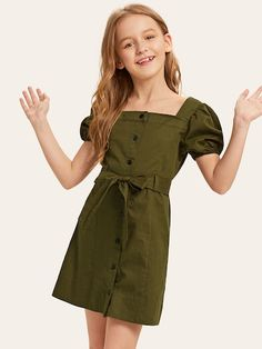To find out about the Girls Puff Sleeve Button Up Belted Dress at SHEIN, part of our latest Girls Dresses ready to shop online today! Teenage Girl Outfits, Girls Fashion Clothes, Teen Fashion Outfits, Kids Outfits, Kids Fashion, Cute Outfits, Tee Dress, Belted Dress, Cute Girl Dresses