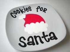 Cookies for Santa Handpainted Ceramic Christmas Plate