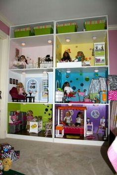 Ikea Pax dollhouse - OMGEEEE this is WAY more awesome than the one I got for the girls!amazing Ikea Pax dollhouse - OMGEEEE this is WAY more awesome than the one I got for the girls! American Girl Storage, American Doll House, American Girl Doll Room, American Girl Furniture, American Girl Parties, American Girl Crafts, American Girl Clothes, American Girls, American Girl Dollhouse