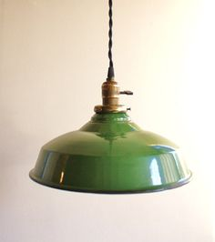 Vintage green enamel pendant lamp-need to work this into future kitchen plans.