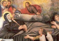 Teresa van Avila. - < 1800. Schilderij België, Brussel, karmelklooster Dood van Teresa.