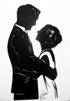 Bridal Couple cut paper silhouette by Tim Arnold