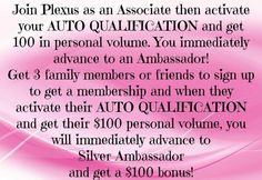 http://www.facebook.com/photo.php?fbid=10200498868047761=gm.208951519255287=1_count=3 Preferred customer or Ambassador (wholesale)? No commitment or quota either way.   But if you decide you want to earn check it out! Why not get your products for wholesale!?  Only $34.95 for the year!! Includes two free websites in case you do want to promote.   PLUS i'm reimbursing your $34.95! Nothing to lose!  www.andreao.myplexusproducts.com