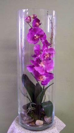 permanent orchid flower arrangement More - Orchid Flower Arrangements, Artificial Flower Arrangements, Orchid Plants, Flower Vases, Flower Pots, Orchid In Vase, Phalaenopsis Orchid, Artificial Orchids, Deco Floral