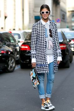 Must-See Street Style From Milan Fashion Week Fall 2015 - tweed black and white check coat, graphic sweatshirt over a white button-down shirt + cuffed skinny jeans and sneakers