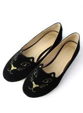 Cat Face Embroidery Ballet Flat Shoes in Black