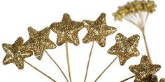 Gold Glitter Mini Star Picks - 24pcs - Holiday Florals - Christmas and Winter - Holiday Crafts