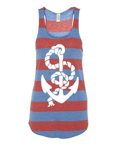 Womens Vintage ANCHOR Stripe Nautical Tri Blend Tank Top Alternative Apparel 4 Colors Small Medium Large XLarge Racerback