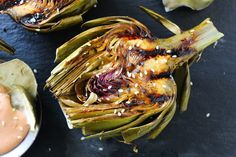 Asian Grilled Artichokes with sriracha dip