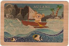 NEW Disney Aulani Duffy Bear Canoe Koa Wood Collectible Handmade Postcard Hawaii