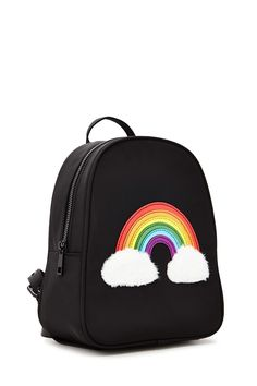 structured mini backpack featuring a rainbow patch with fuzzy clouds, a zip front, a top handle, interior slip NATALHI di sevo soy luna dolso becnao 30 pockets, and adjustable buckled straps. Cute Mini Backpacks, Stylish Backpacks, Girl Backpacks, Mini Mochila, Rainbow Bag, Structured Bag, Back Bag, Girls Bags, Cute Bags