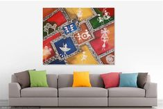This is a colorful contemporary warli art .Warli painting is a style of tribal art mostly created by the Adivasis/tribals from the North Sahyadri Range in India. >>Decorate your home with Original acrylic warli tribal indian Painting, Modern Wall Decor, Art for Sale, Perfect Gift