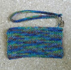 Cell Phone Bag crochet wristlet with zipper  by DesignsbyMissJP
