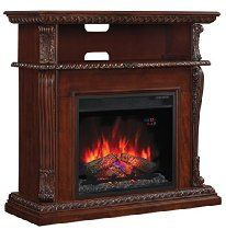 "ClassicFlame 23DE1447-C233 Corinth Wall or Corner TV Stand for TVs up to 47"", Vintage Cherry (Electric Fireplace Insert sold separately)"