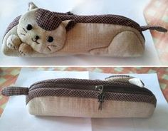 How to make kitten pencil bag step by step DIY tutorial instructions. Fabric Basket Tutorial, Patchwork Tutorial, Pencil Bags, Pencil Pouch, Japanese Patchwork, Sewing To Sell, Cat Bag, Bag Patterns To Sew, Fabric Bags