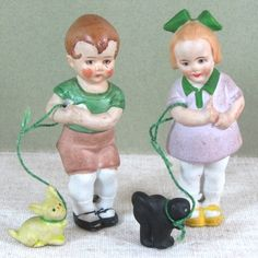 """Cute Hertwig Pair of 3"""" All Bisque Children with 3/4"""" Pets"""