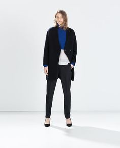 WOOL COAT WITH CROSSOVER COLLAR