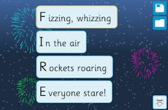 Acrostic Poem Maker - Fireworks activity Happy Birthday Fireworks, Happy New Year Fireworks, Wedding Fireworks, 4th Of July Fireworks, Firework Poems, Fireworks Quotes, Fireworks Pictures, Bonfire Night Activities, Bonfire Night Crafts
